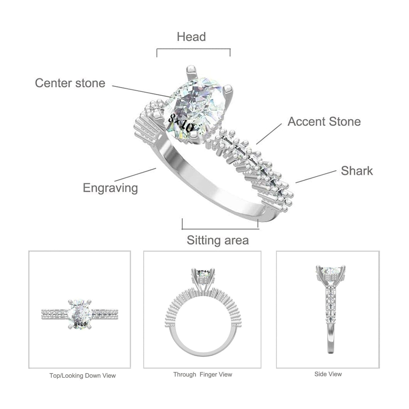 Cara Zirconia Ring Diagram and Specs