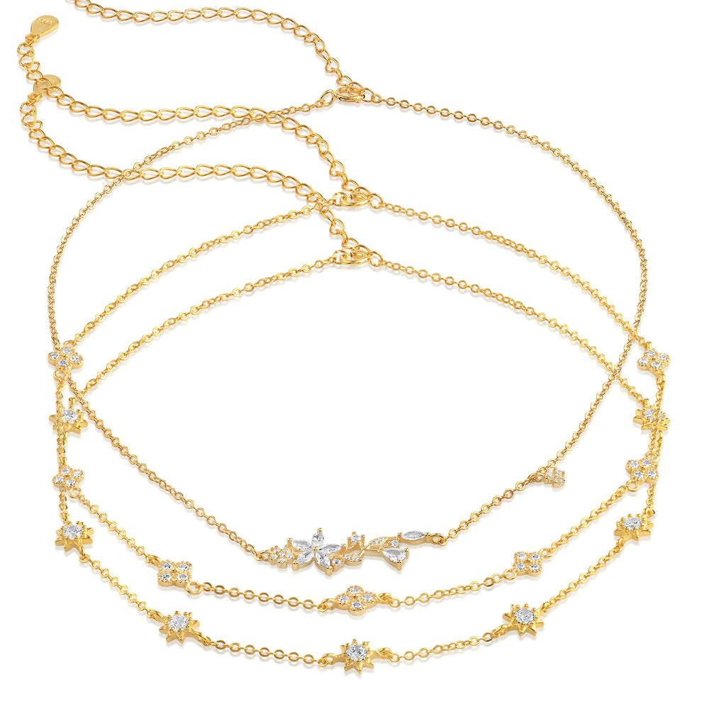 Clementine 3 in 1 Choker Necklace - Trio - 18K Yellow Gold Vermeil