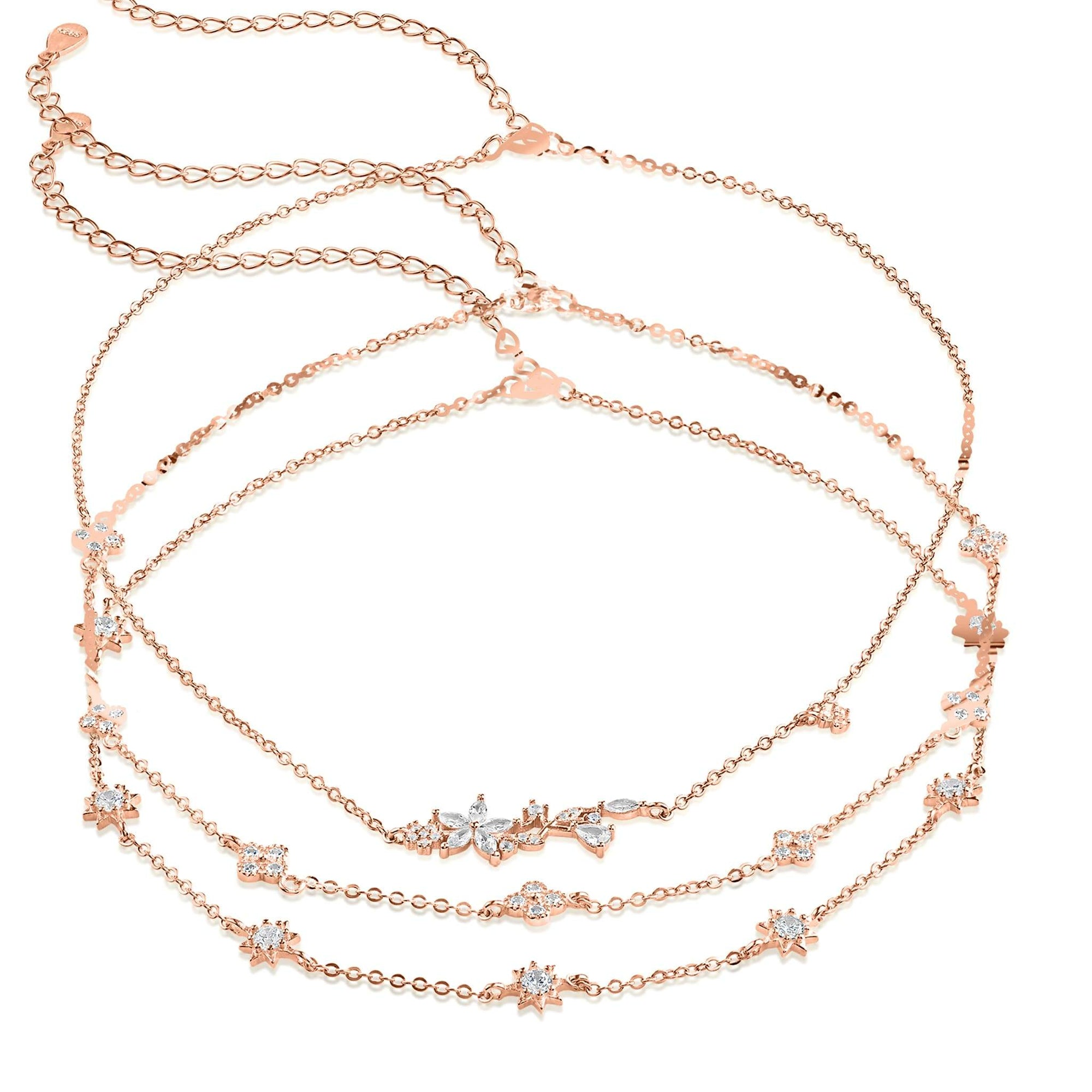 Clementine 3 in 1 Choker Necklace - Trio - 18K Rose Gold Vermeil