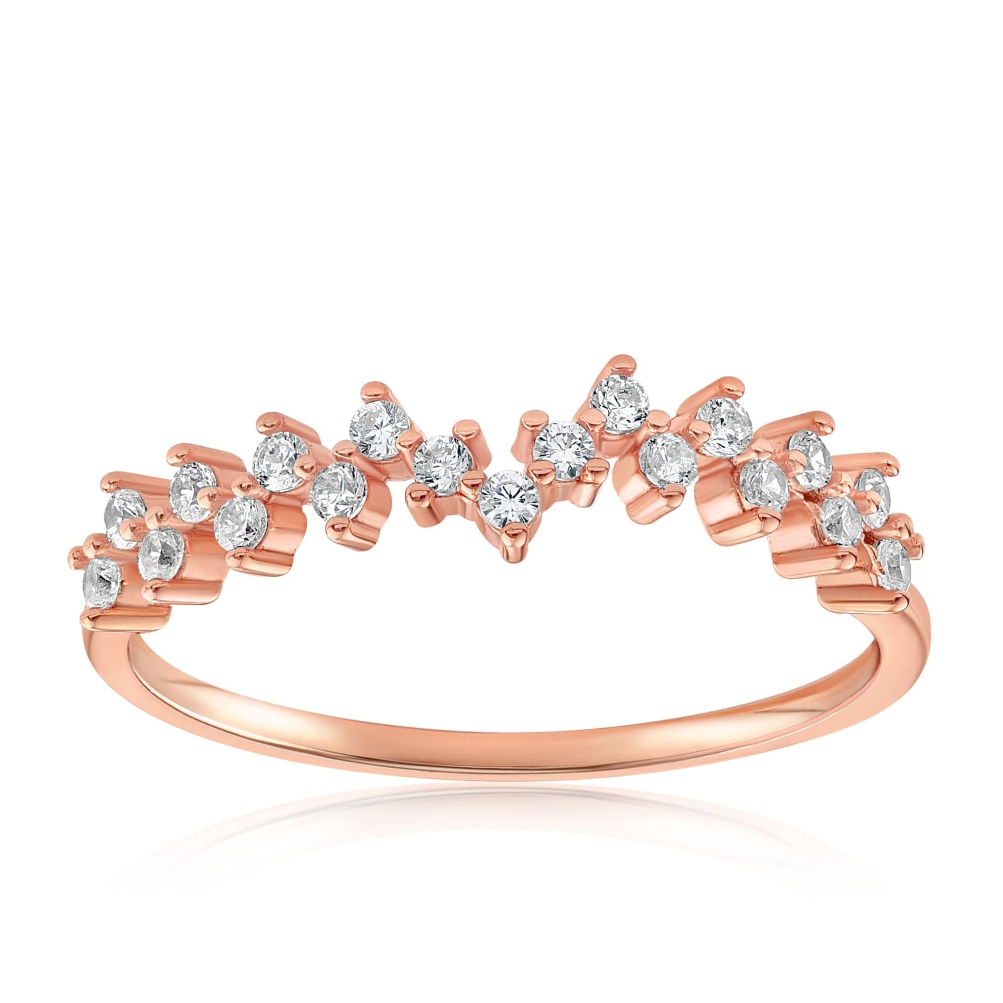 Esther Petite Cluster Ring - Front View Facing Up - 18K Rose Gold Vermeil