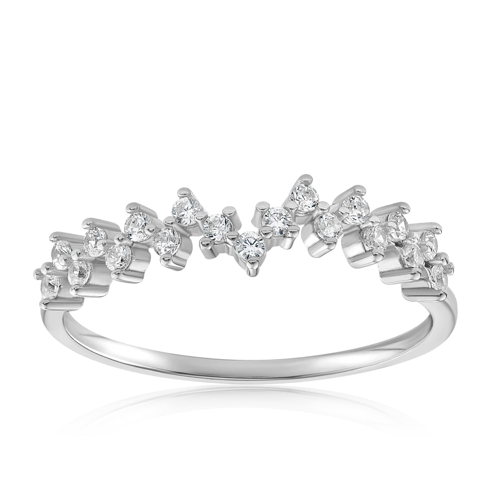 Esther Petite Cluster Ring - Front View Facing Up - 925 Sterling Silver