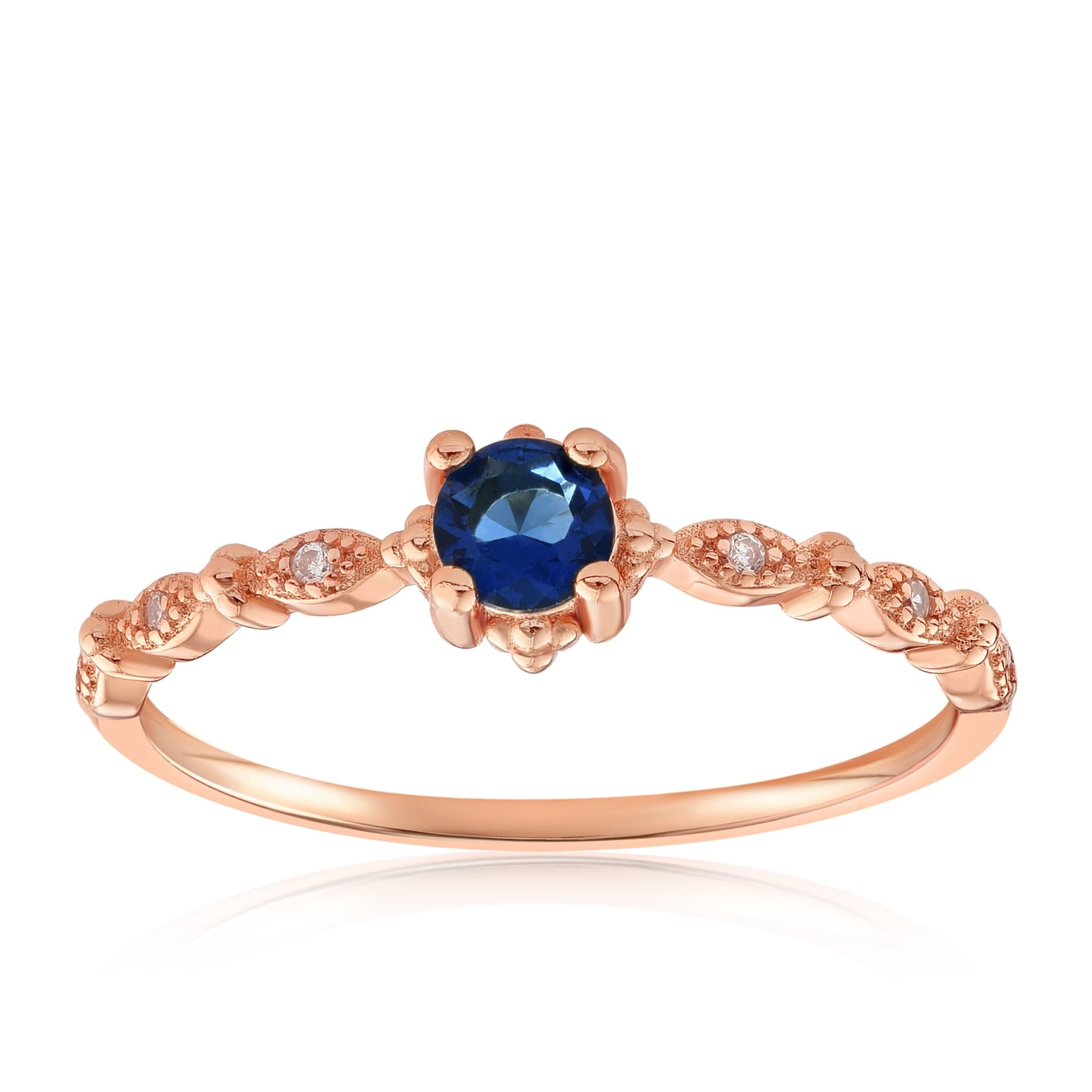 Garen Ring Blue Gemstone - Front View Facing Up - 18K Rose Gold Vermeil