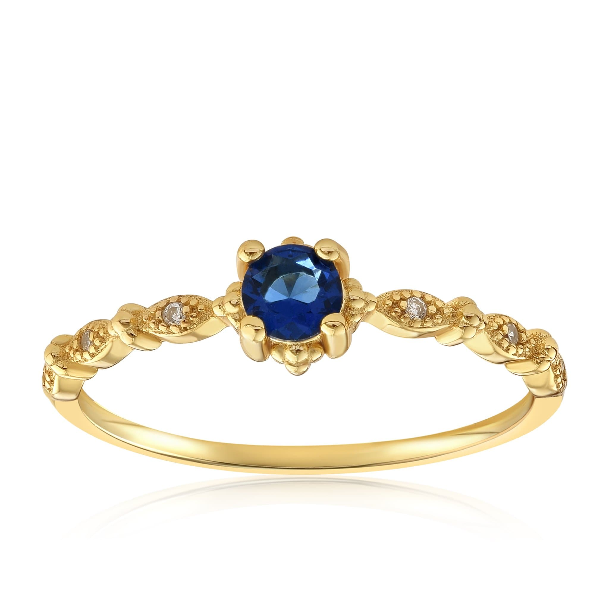 Garen Ring Blue Gemstone - Front View Facing Up - 18K Yellow Gold Vermeil