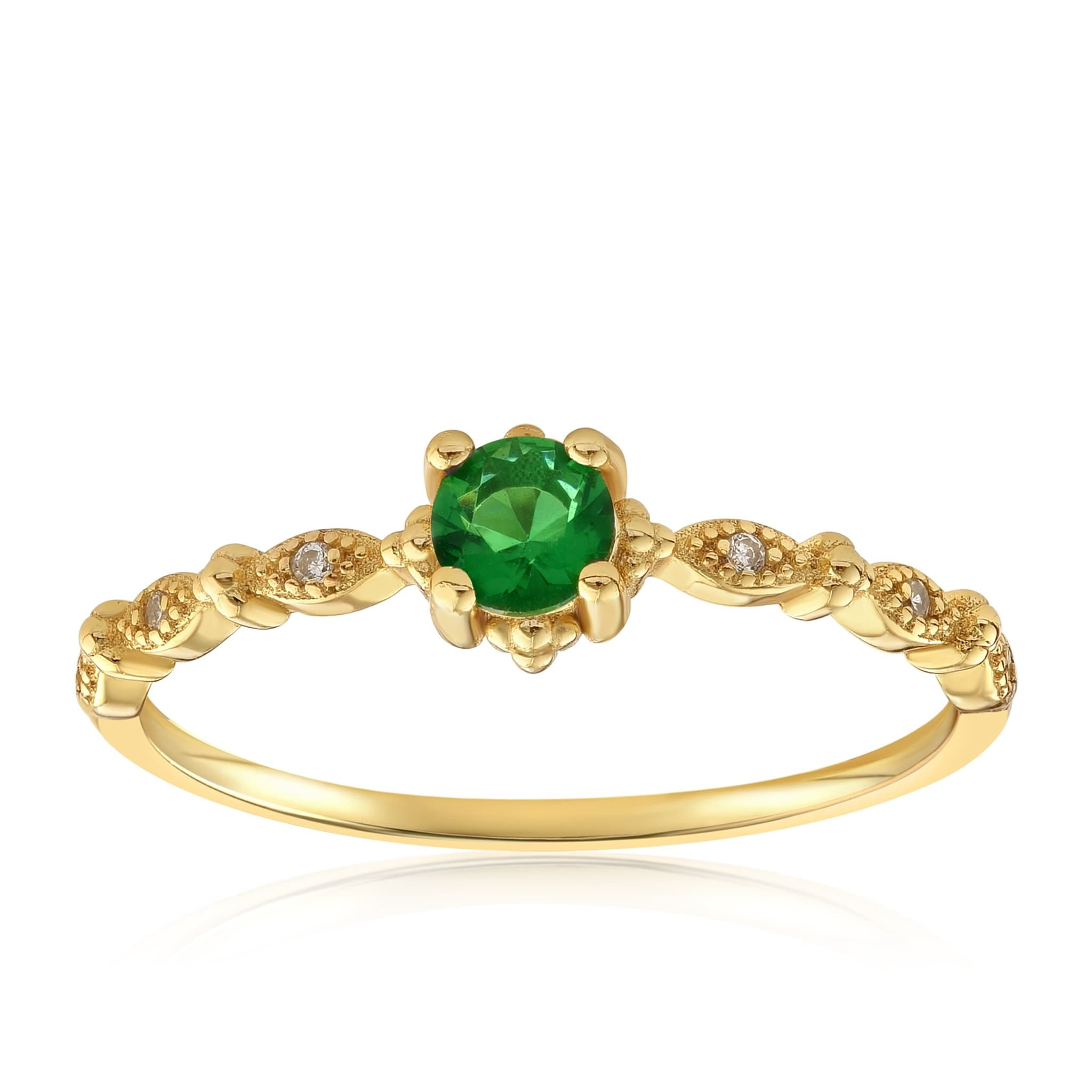 Garen Ring Green Gemstone - Front View Facing Up - 18K Yellow Gold Vermeil