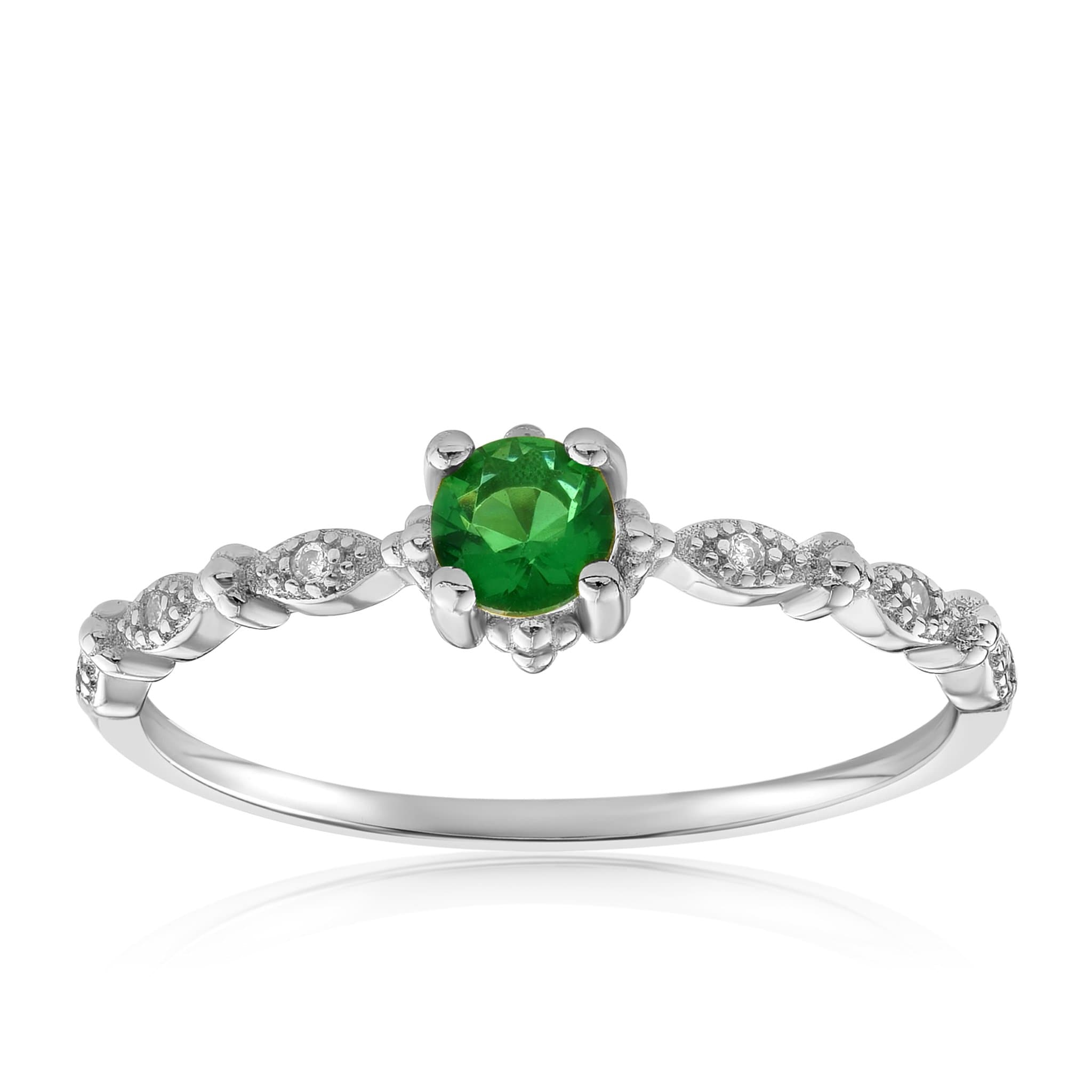 Garen Ring Green Gemstone - Front View Facing Up - 925 Sterling Silver