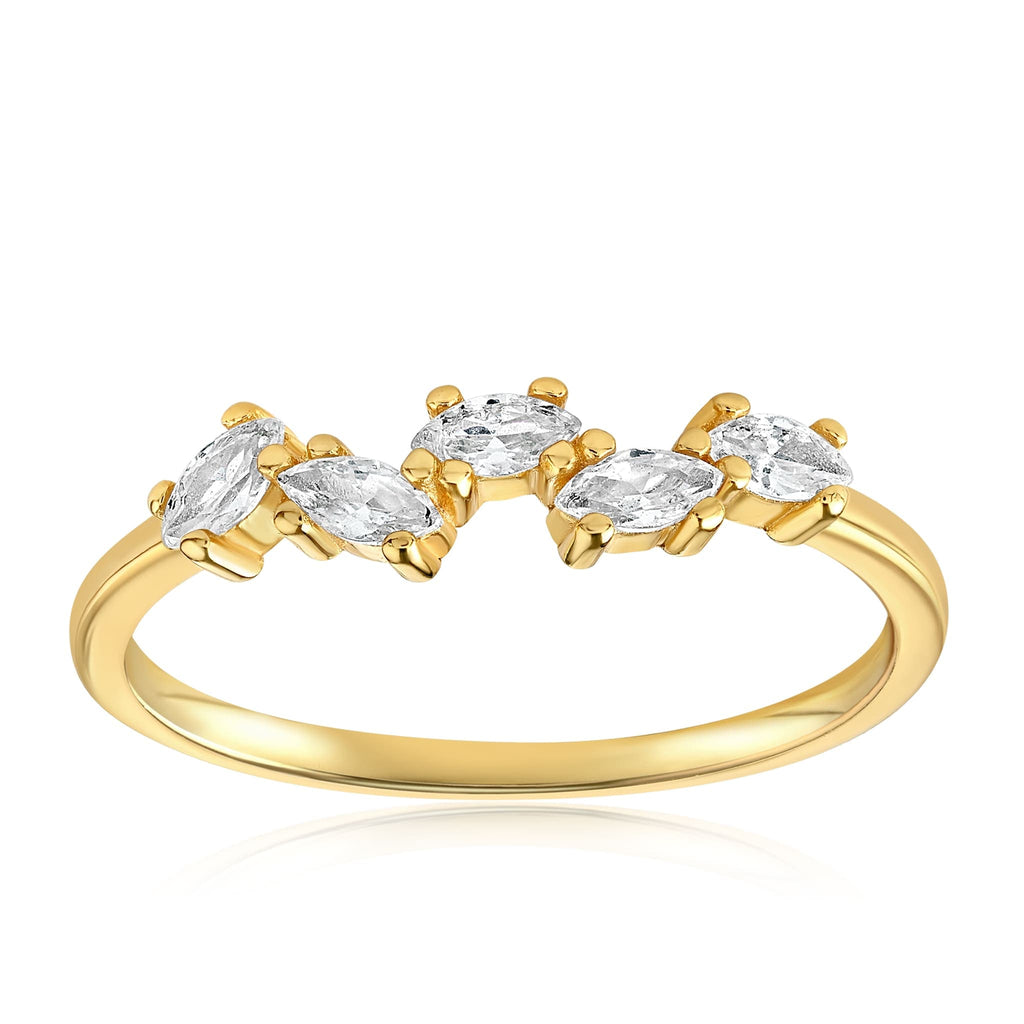 Genna Round Cut Ring - Front View Facing Up - 18K Yellow Gold Vermeil