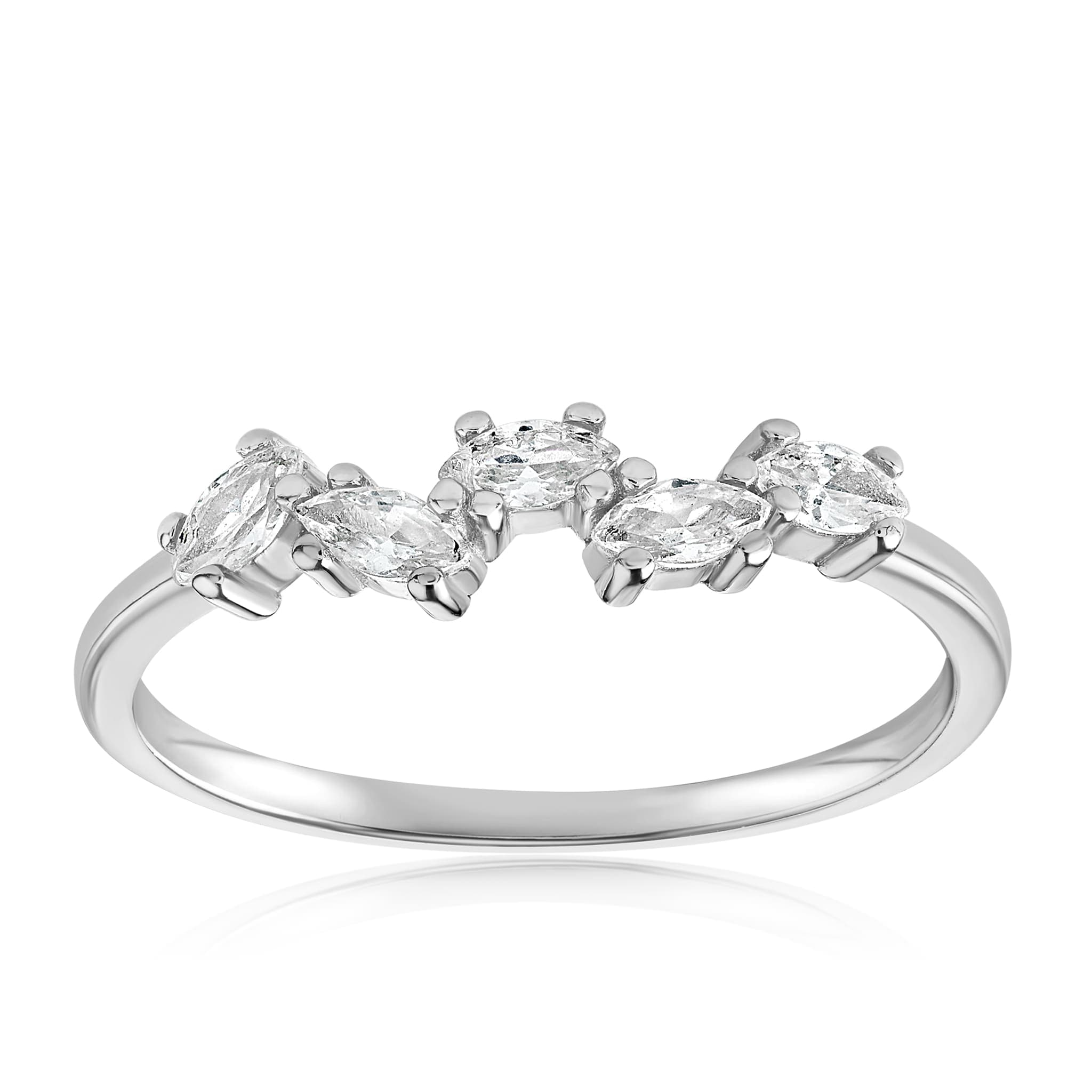Genna Round Cut Ring - Front View Facing Up - 925 Sterling Silver