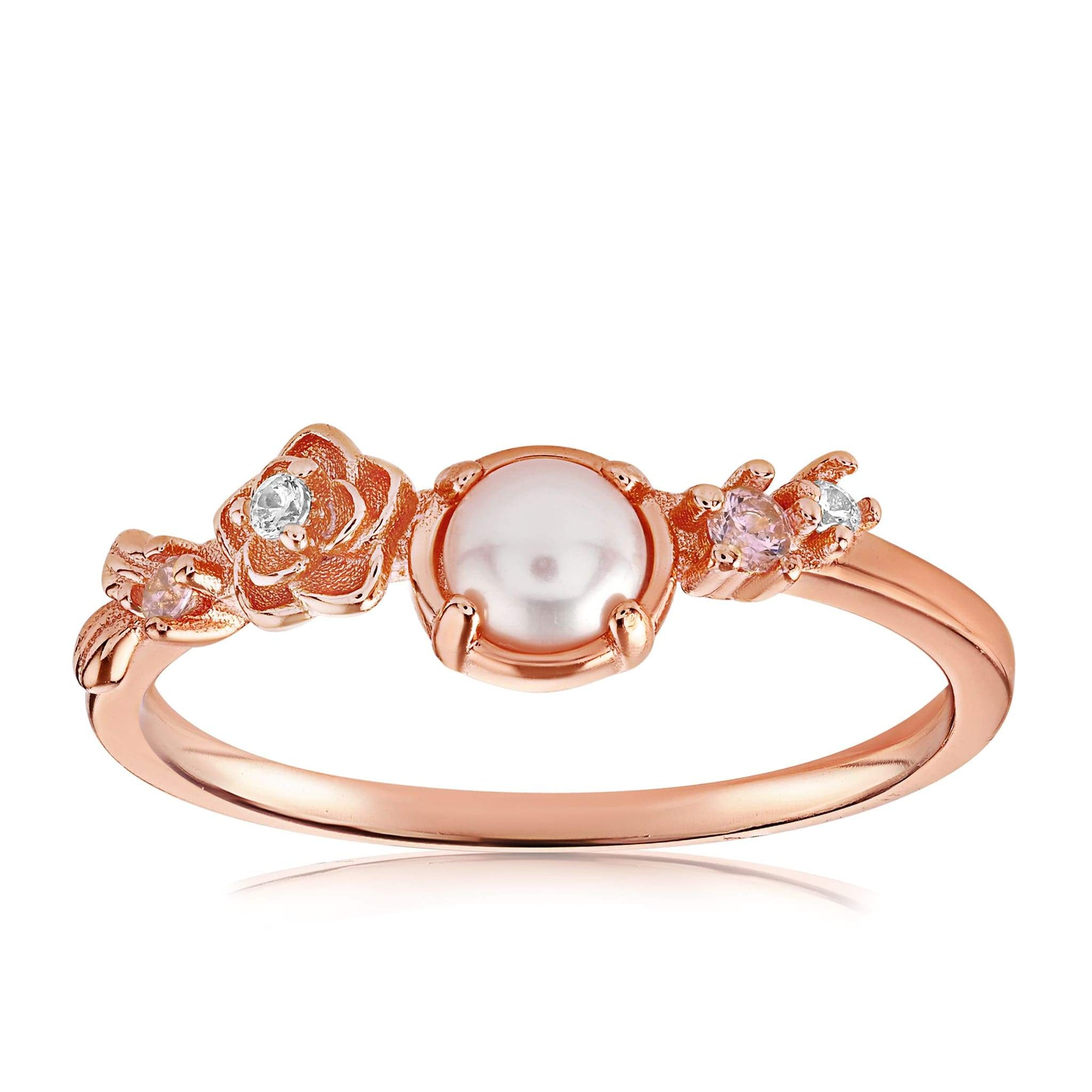 Grace Pearl Ring - Front View Facing Up - 18K Rose Gold Vermeil