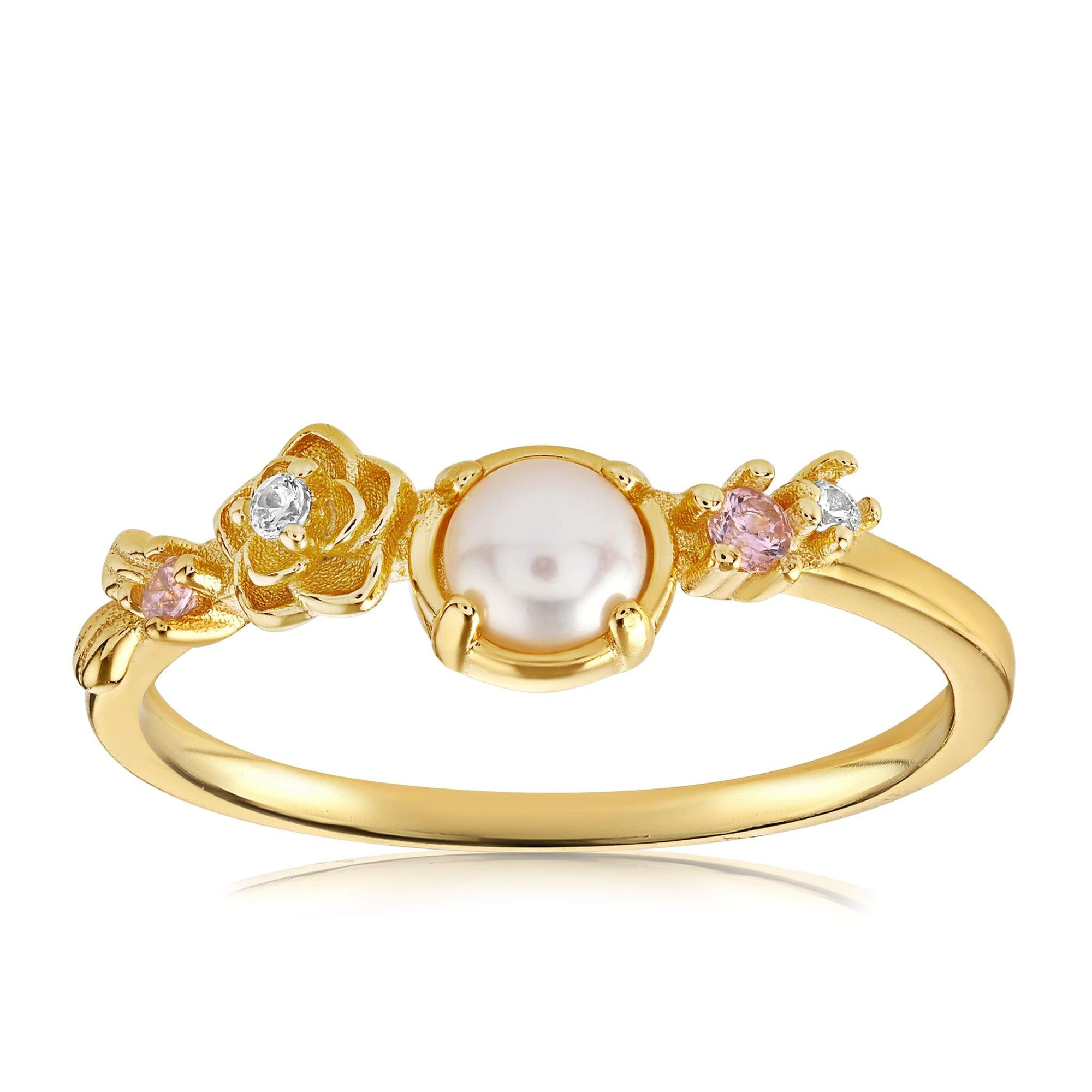 Grace Pearl Ring - Front View Facing Up - 18K Yellow Gold Vermeil