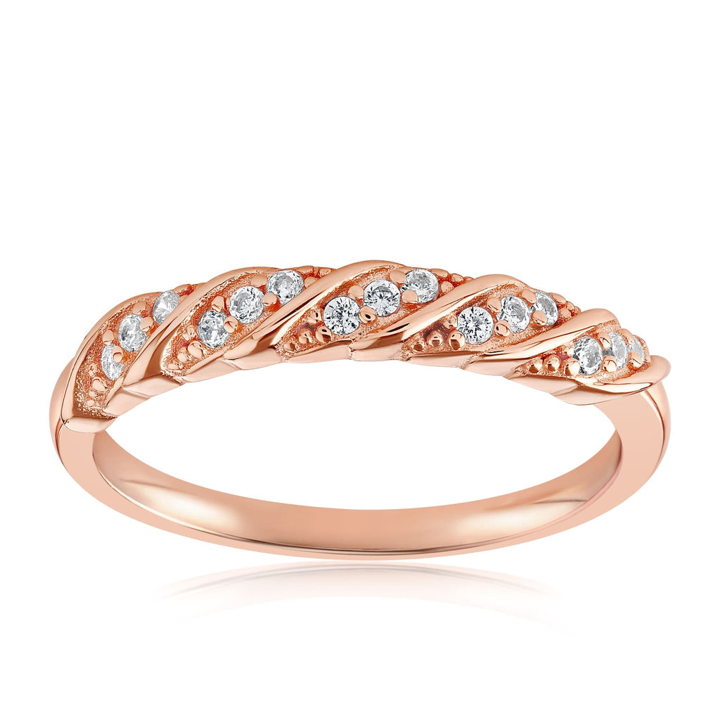 Jessica Simple Twist Ring - Front View Facing Up - 18K Rose Gold Vermeil