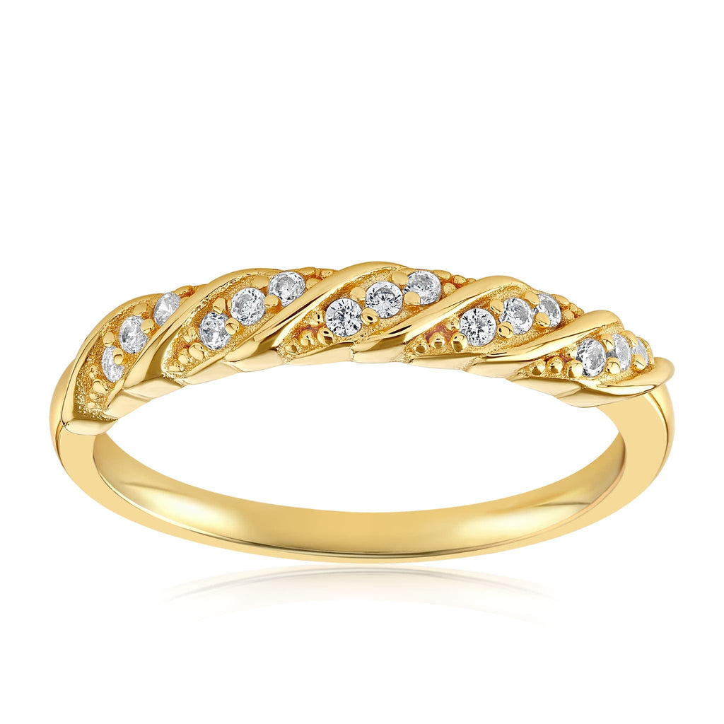 Jessica Simple Twist Ring - Front View Facing Up - 18K Yellow Gold Vermeil
