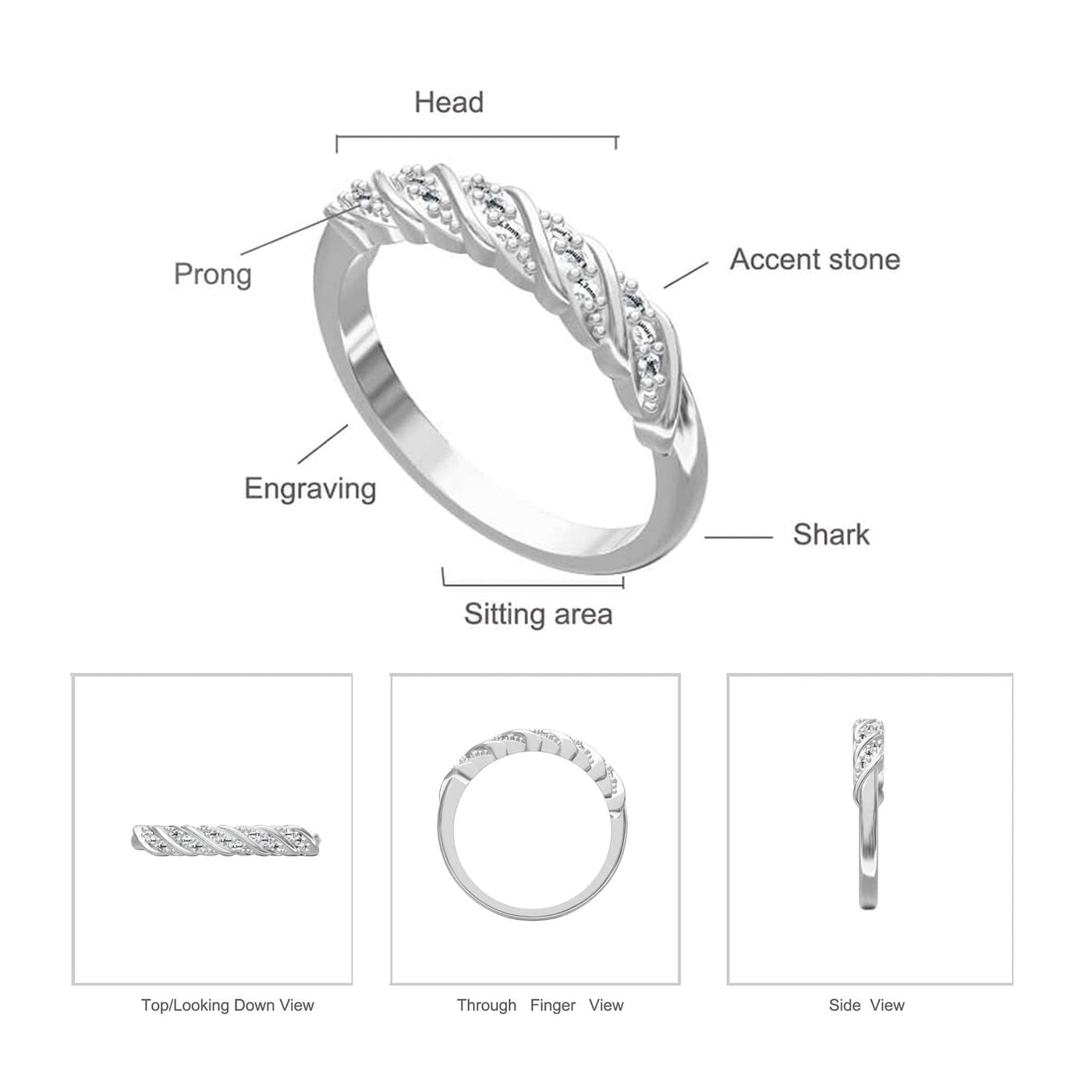 Jessica Simple Twist Ring Diagram and Specifications