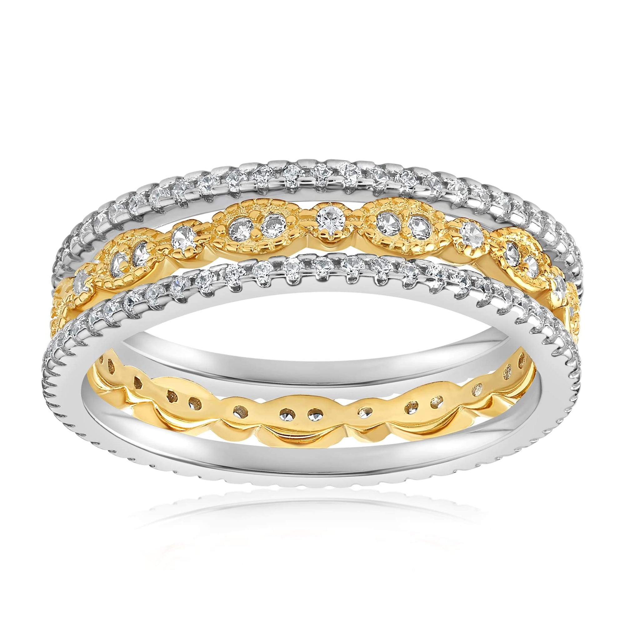 Juliana 3 Ring Set - Front View Facing Up - 18K Yellow Gold Vermeil