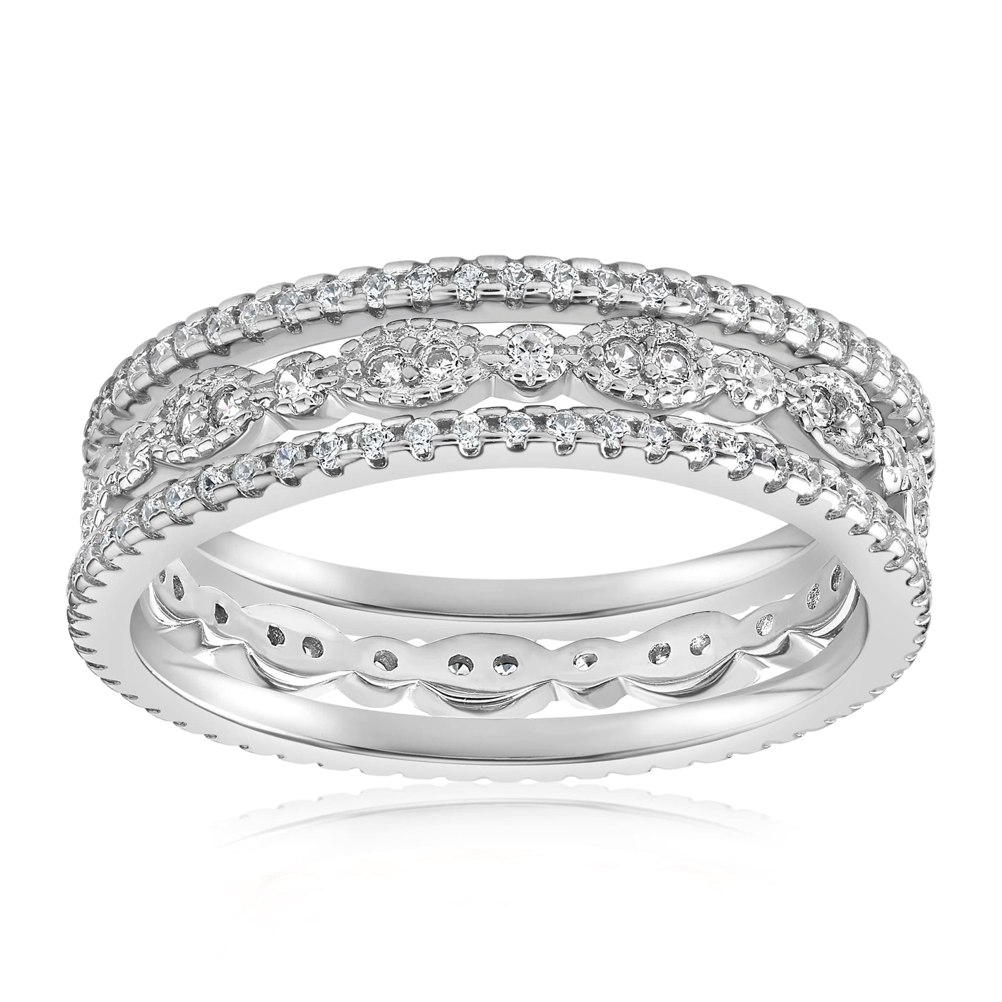 Juliana 3 Ring Set - Front View Facing Up - 925 Sterling Silver