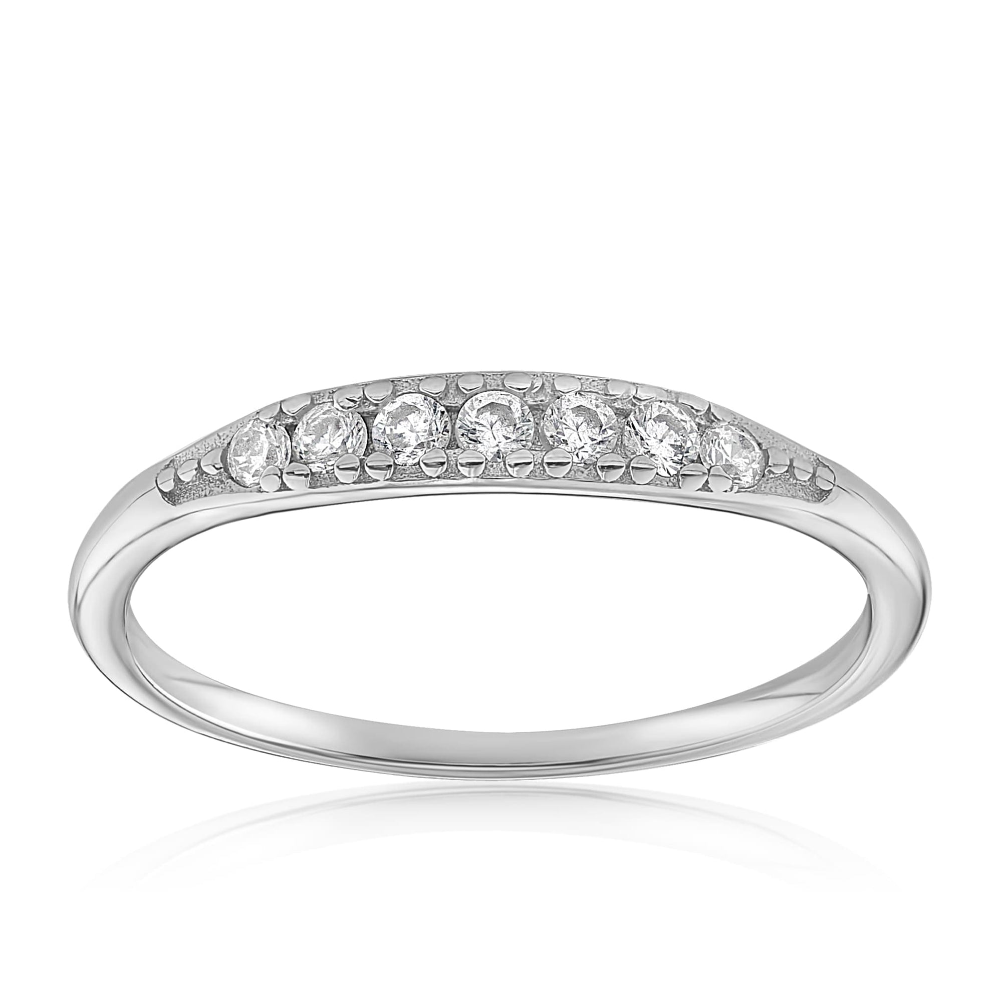 Kathleen Stack Ring - Front View Facing Up - 925 Sterling Silver