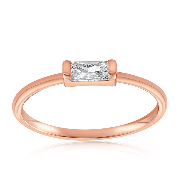 Moonie Glass Geometric Ring - Front View Facing Up - 18K Rose Gold Vermeil