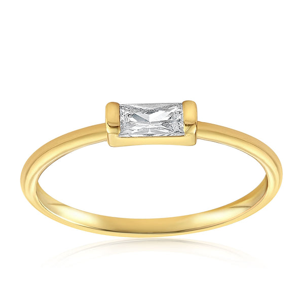 Moonie Glass Geometric Ring - Front View Facing Up - 18K Yellow Gold Vermeil