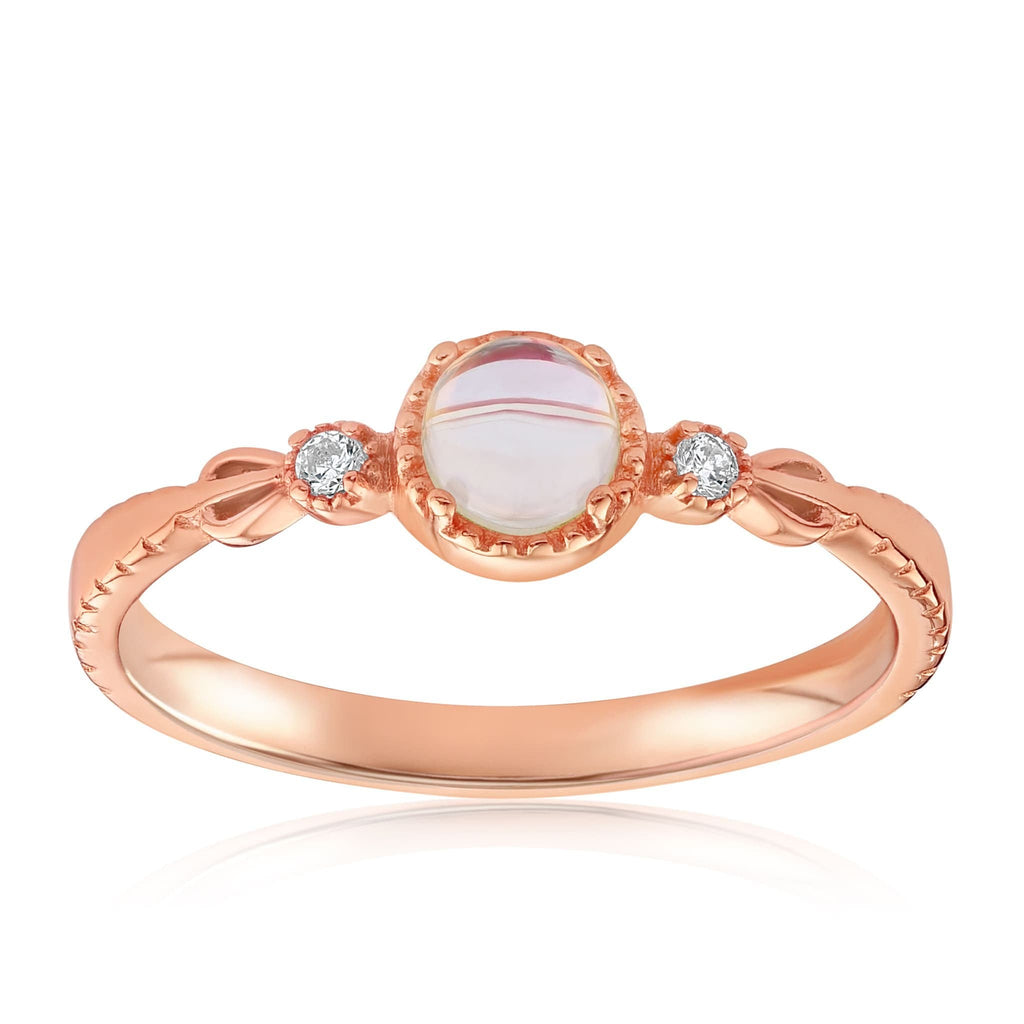 Mystic Moonstone Mood Ring - Front View Facing Up - 18K Rose Gold Vermeil