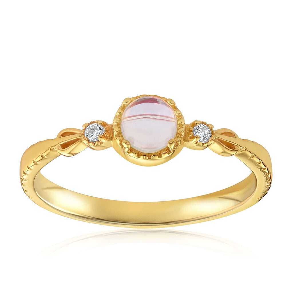 Mystic Moonstone Mood Ring - Front View Facing Up - 18K Yellow Gold Vermeil