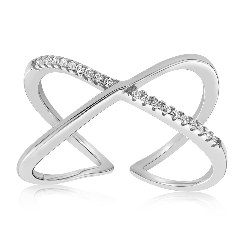 Nadia X Infinity Ring - Front View Facing Up - 925 Sterling Silver