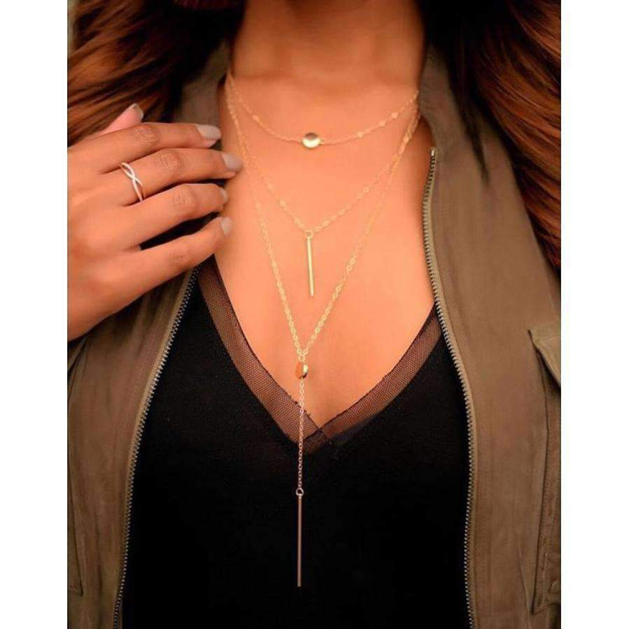 Rayna 3 Gold Plated Layered Necklace
