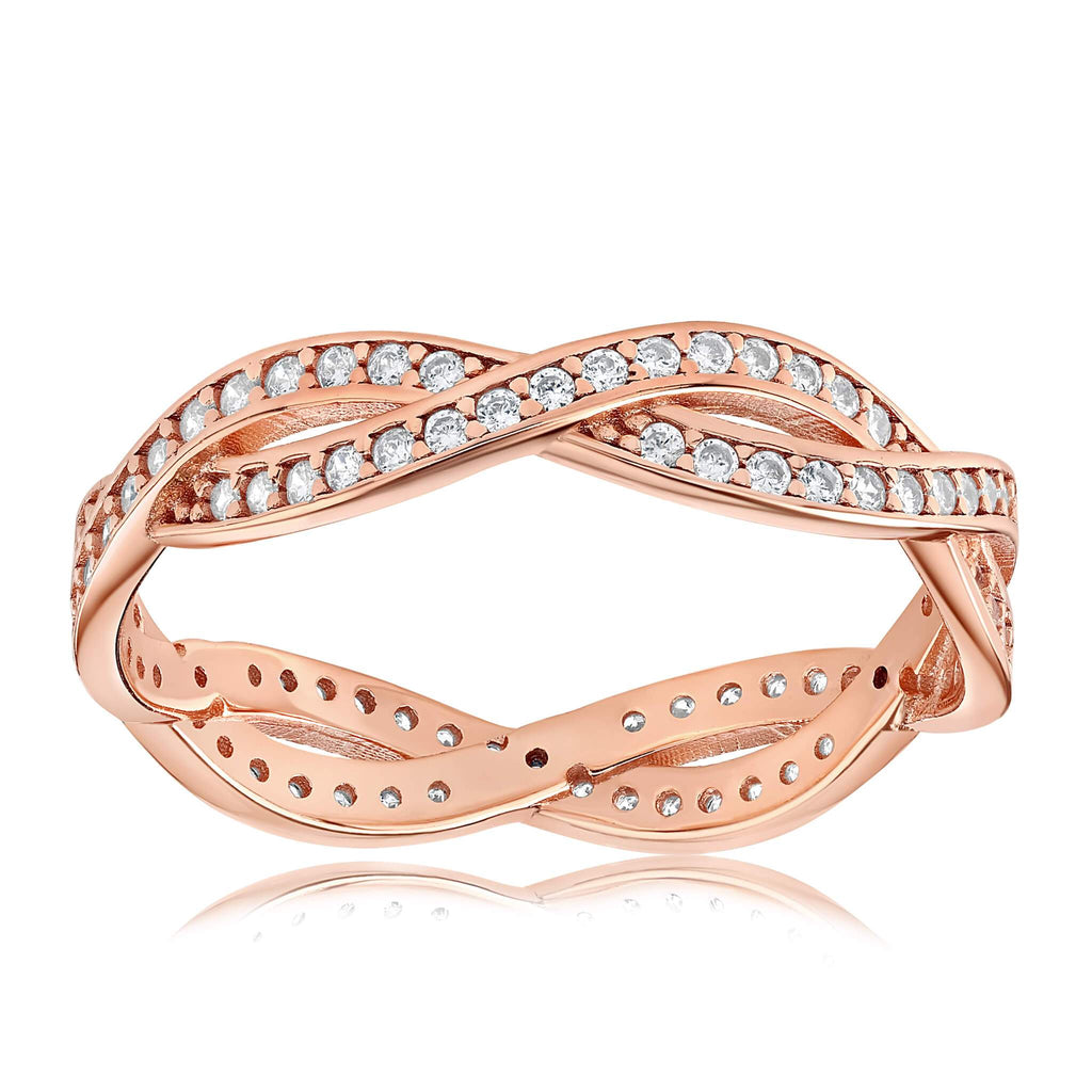 Rebecca Rope Ring - Front View Facing Up - 18K Rose Gold Vermeil