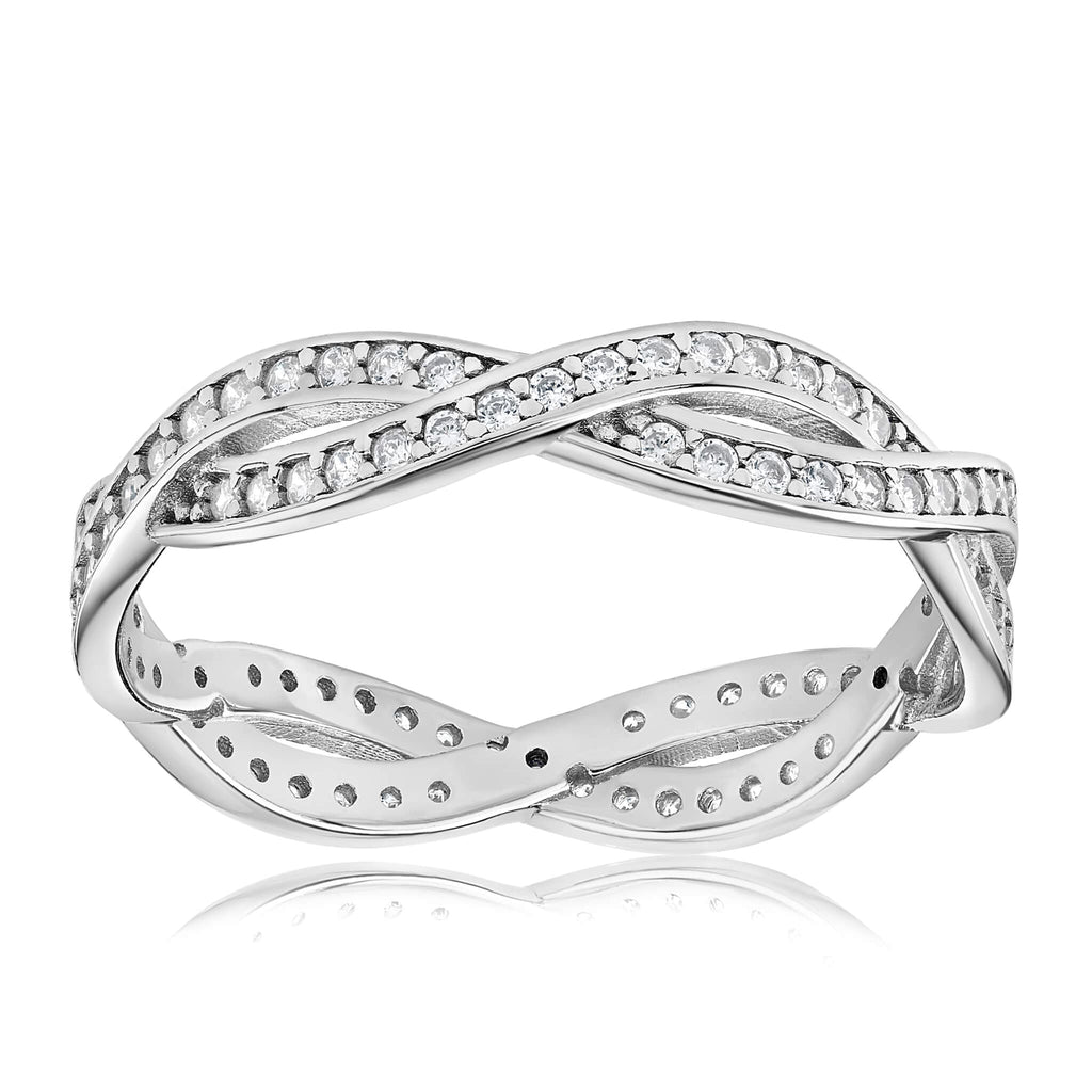 Rebecca Rope Ring - Front View Facing Up - 925 Sterling Silver