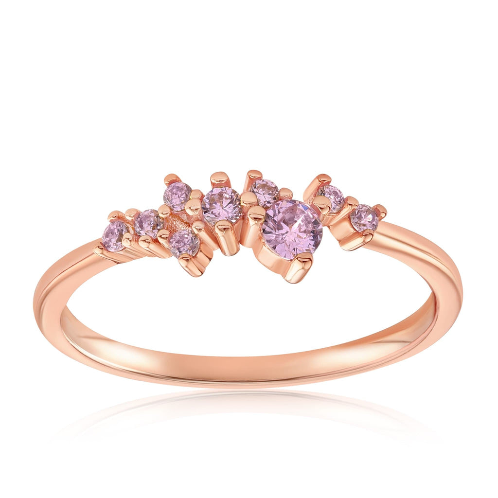 Rose Quartz Cluster Ring - Front View Facing Up - 18K Rose Gold Vermeil