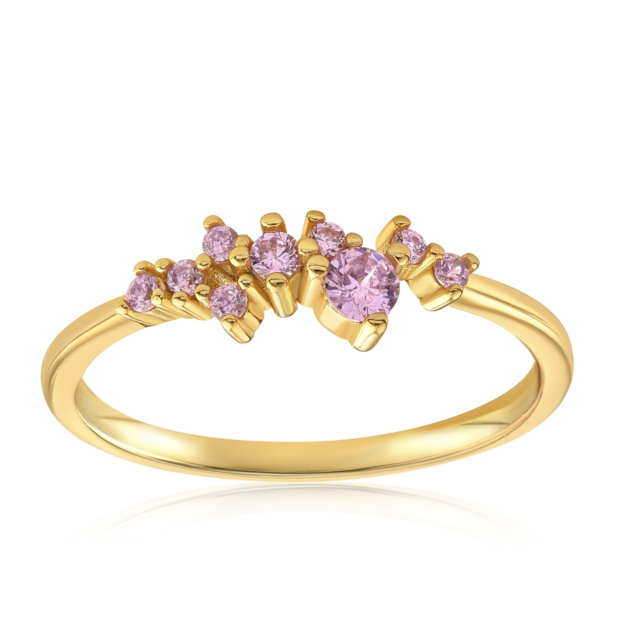 Rose Quartz Cluster Ring - Front View Facing Up - 18K Yellow Gold Vermeil