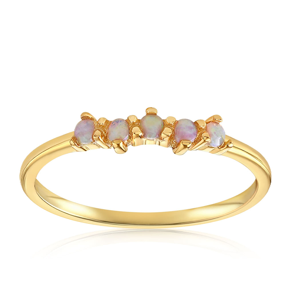 Samantha Simple Dots 5 Opal Ring - Front View Facing Up - 18K Yellow Gold Vermeil