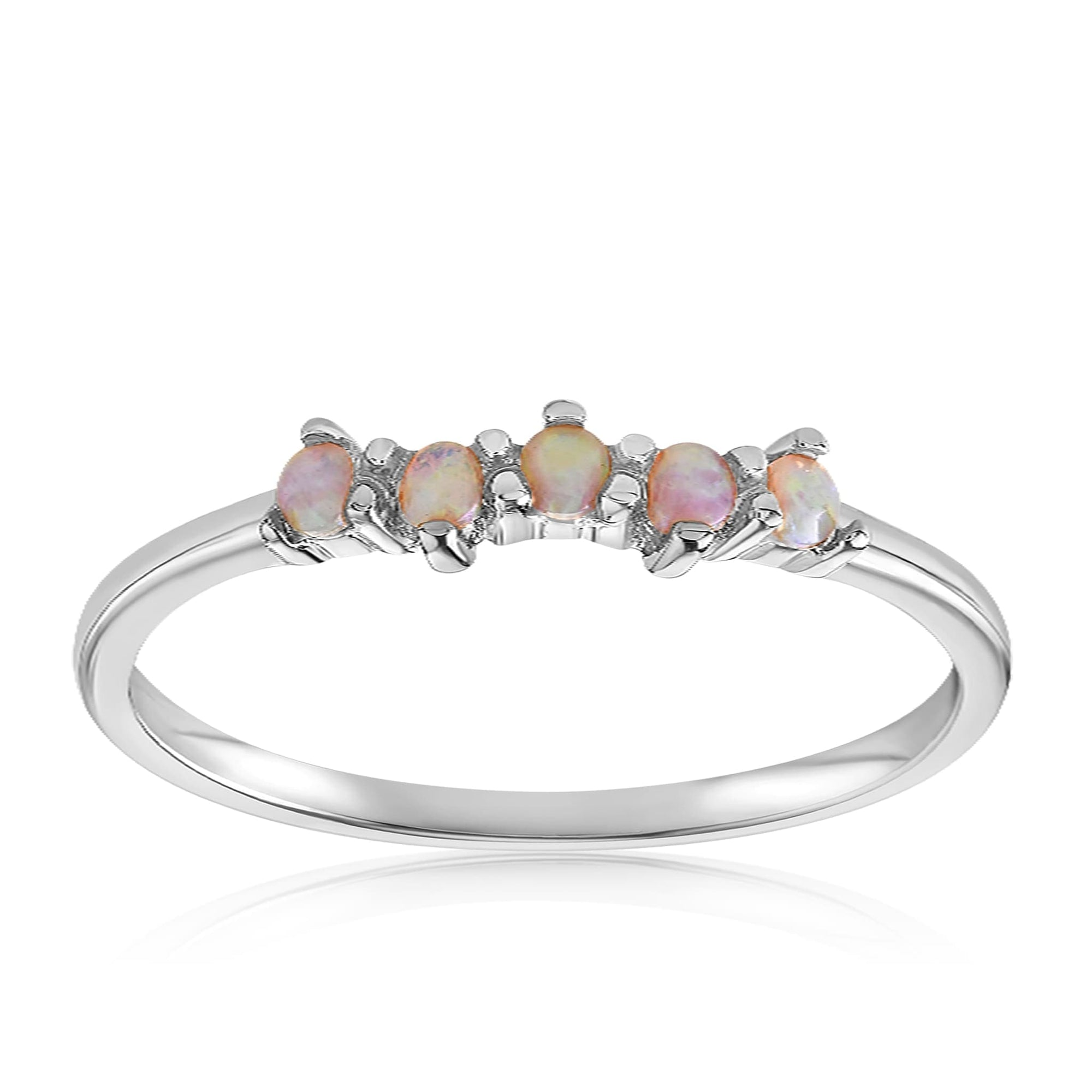 Samantha Simple Dots 5 Opal Ring - Front View Facing Up - 925 Sterling Silver