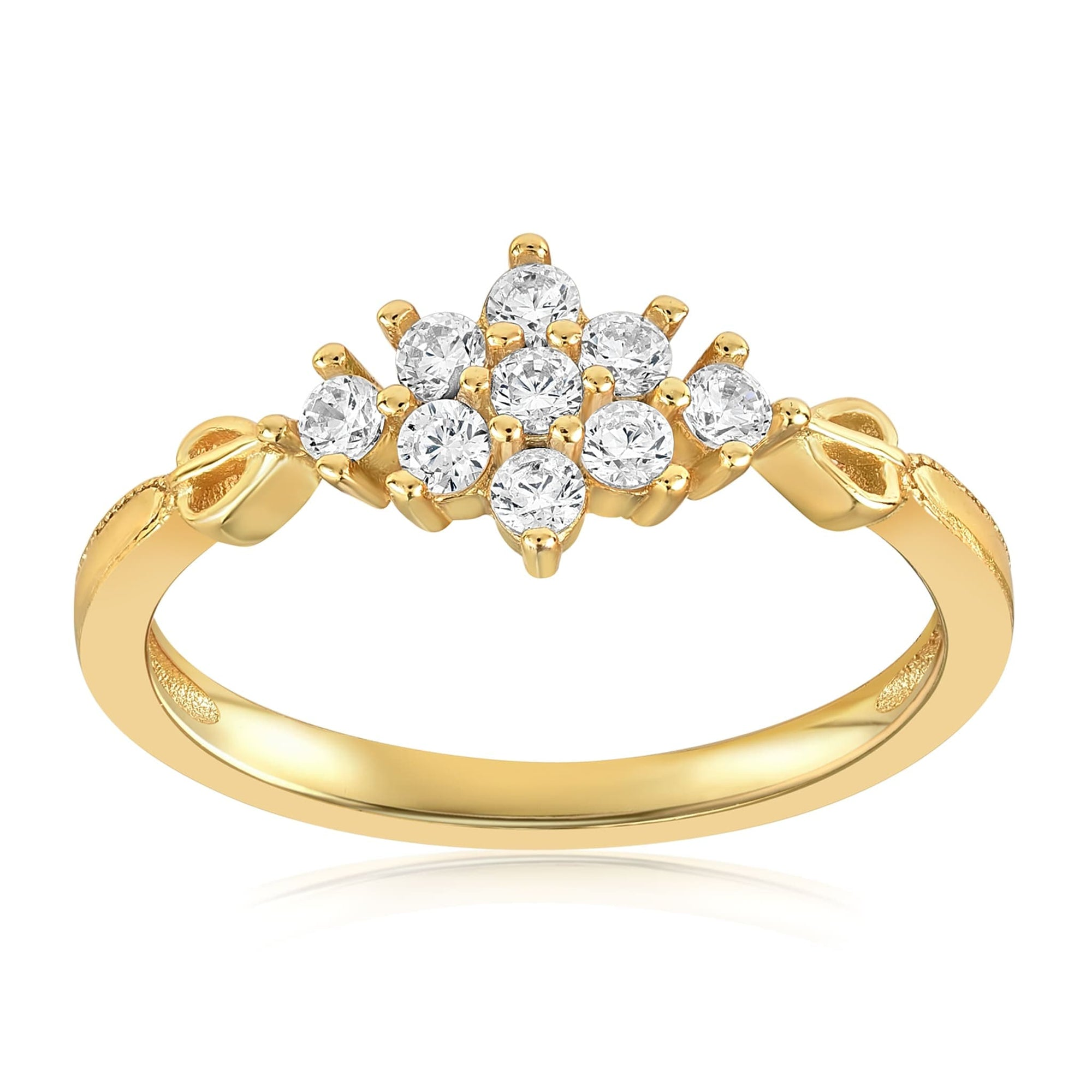 Sarah Snowflake Dainty Ring - Front View Facing Up - 18K Yellow Gold Vermeil