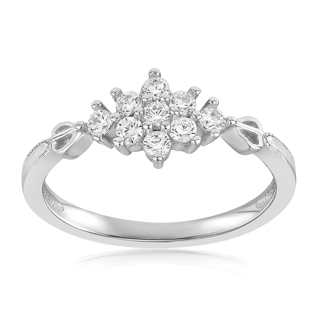 Sarah Snowflake Dainty Ring - Front View Facing Up - 925 Sterling Silver
