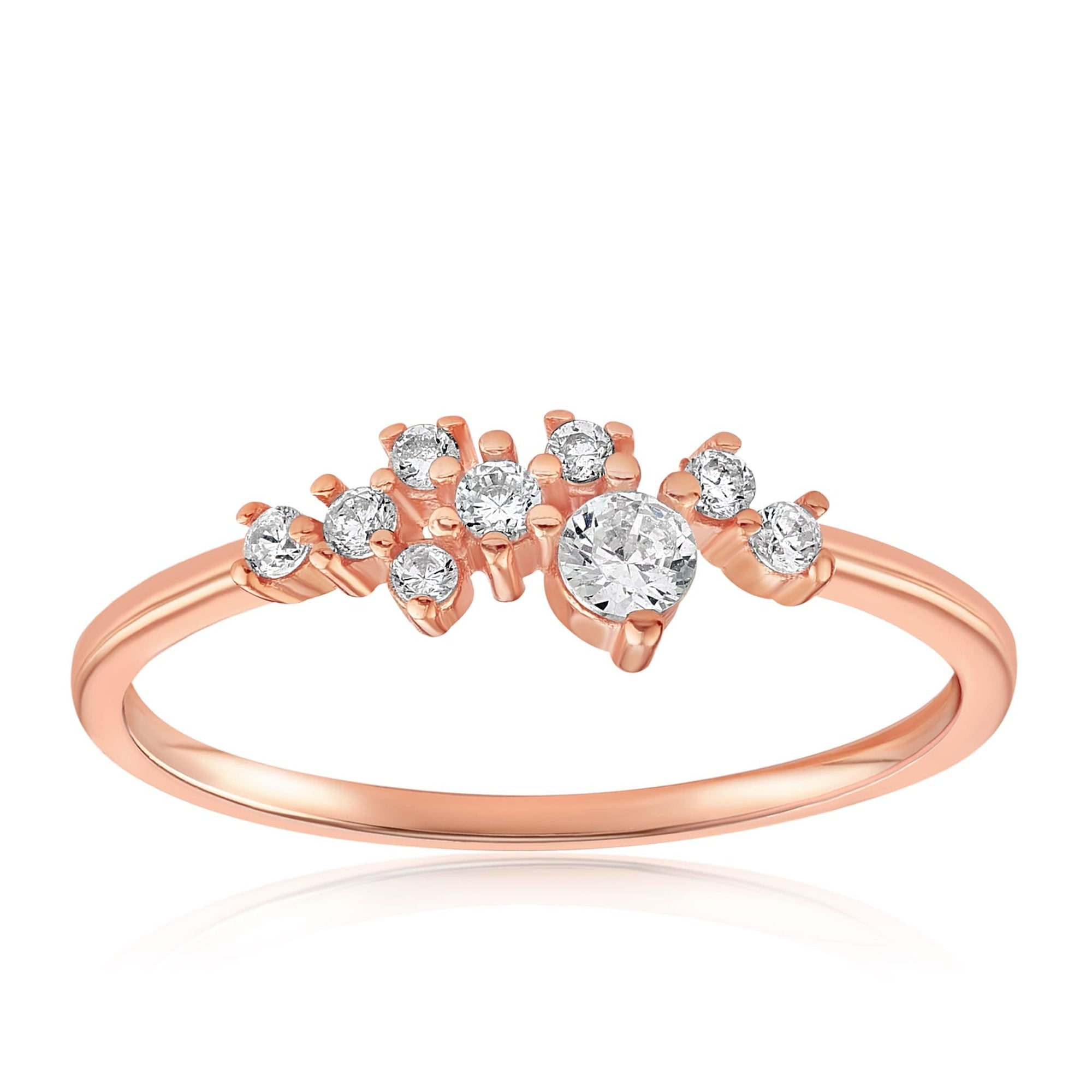 Sasha Sparkle Ring - Front View Facing Up - 18K Rose Gold Vermeil