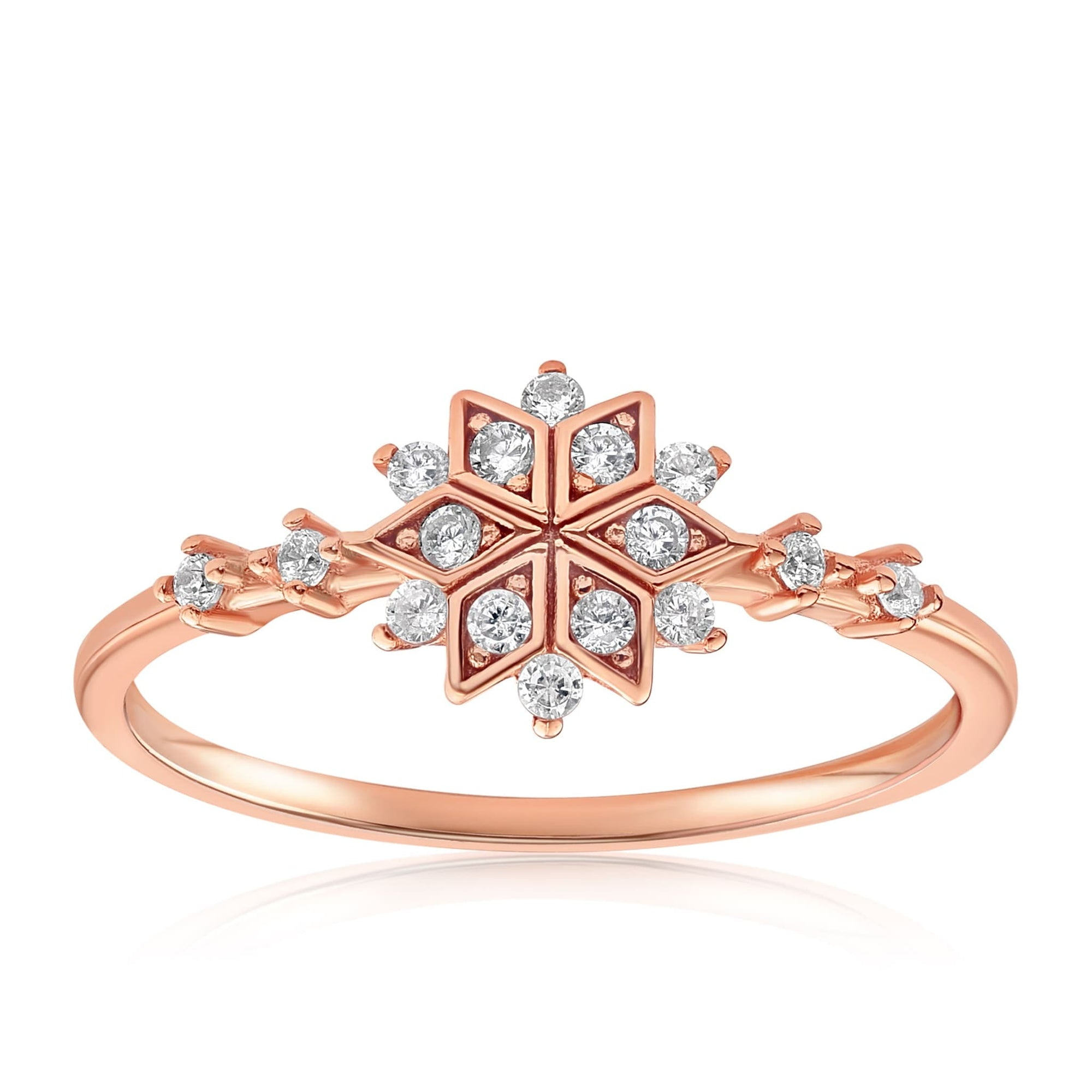 Sophia Snowflake Ring - Front View Facing Up - 18K Rose Gold Vermeil