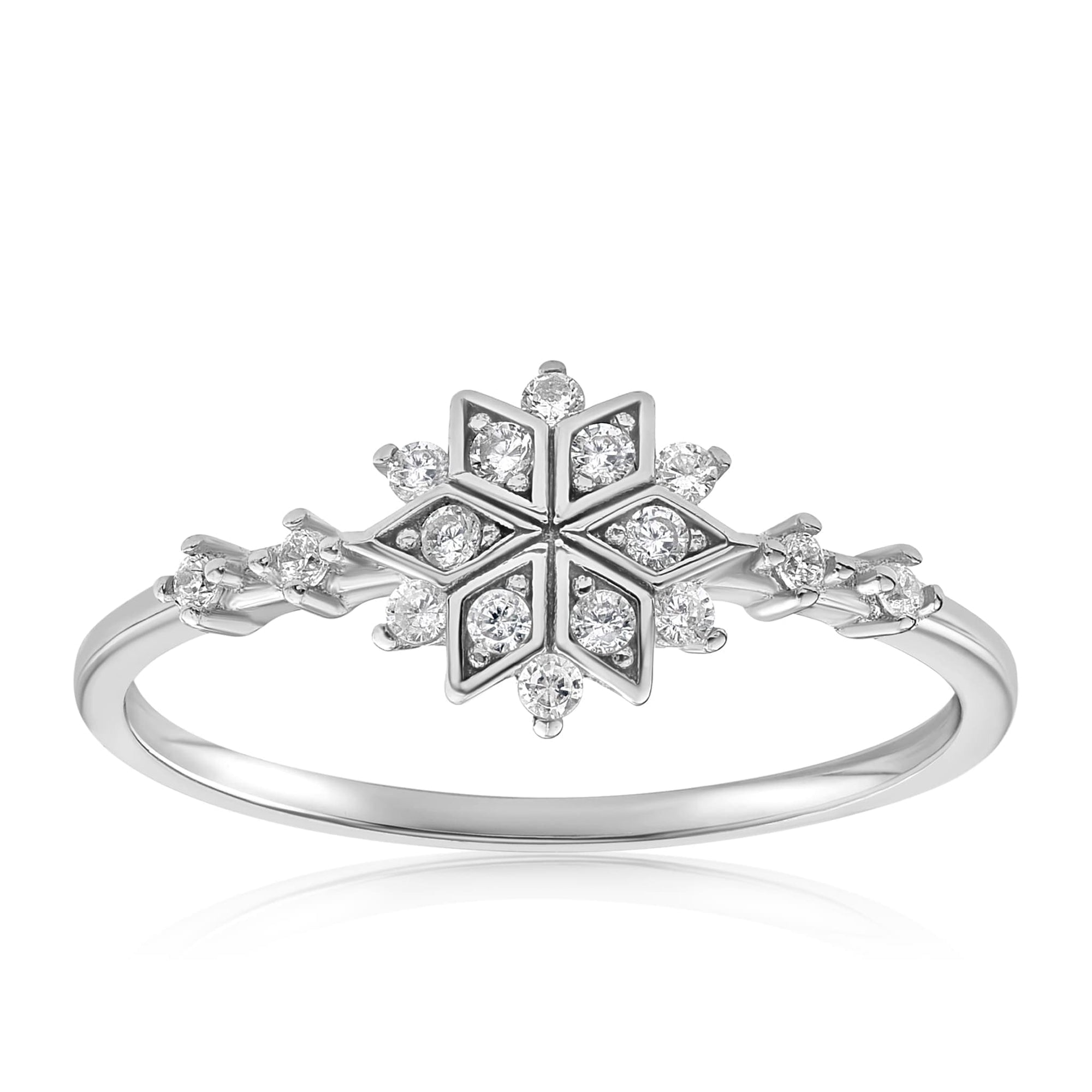 Sophia Snowflake Ring - Front View Facing Up - 925 Sterling Silver