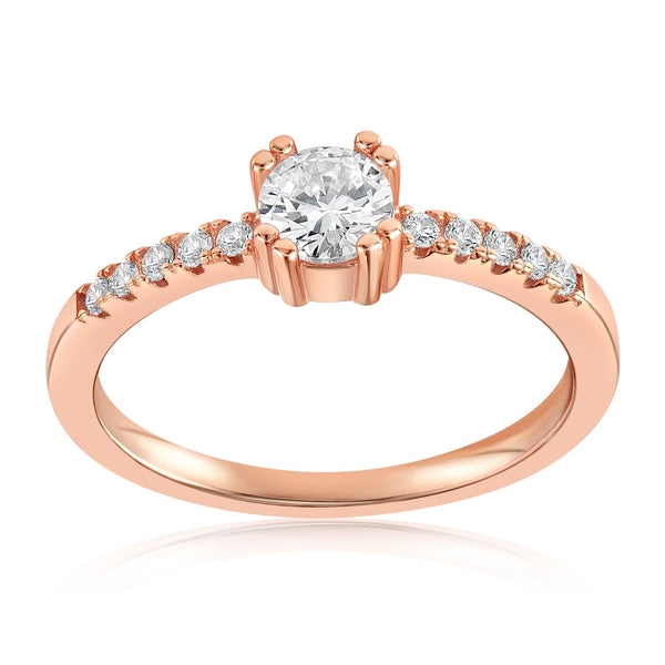Tianna Sparkle Ring - Front View Facing Up - 18K Rose Gold Vermeil
