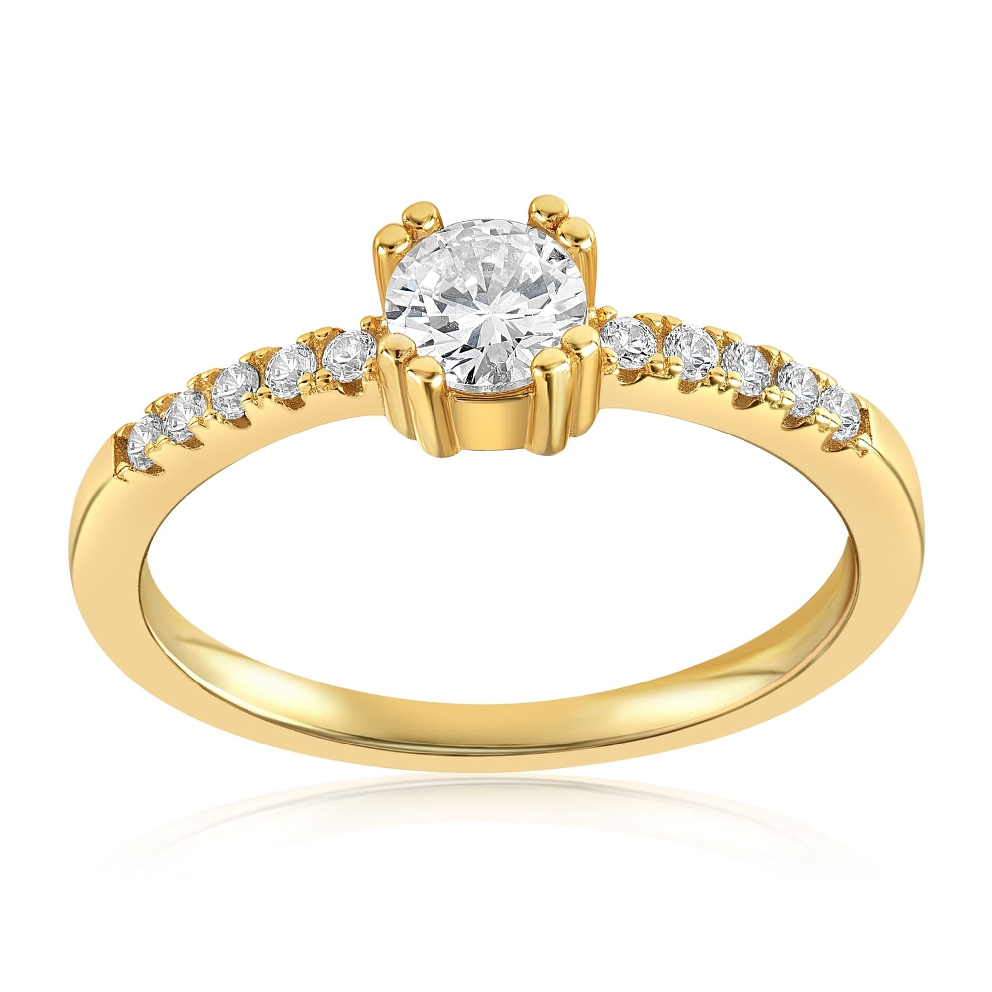 Tianna Sparkle Ring - Front View Facing Up - 18K Yellow Gold Vermeil