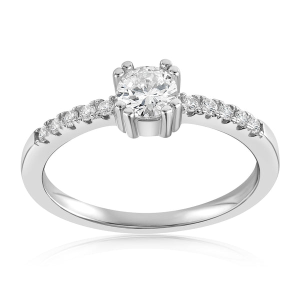 Tianna Sparkle Ring - Front View Facing Up - 925 Sterling Silver