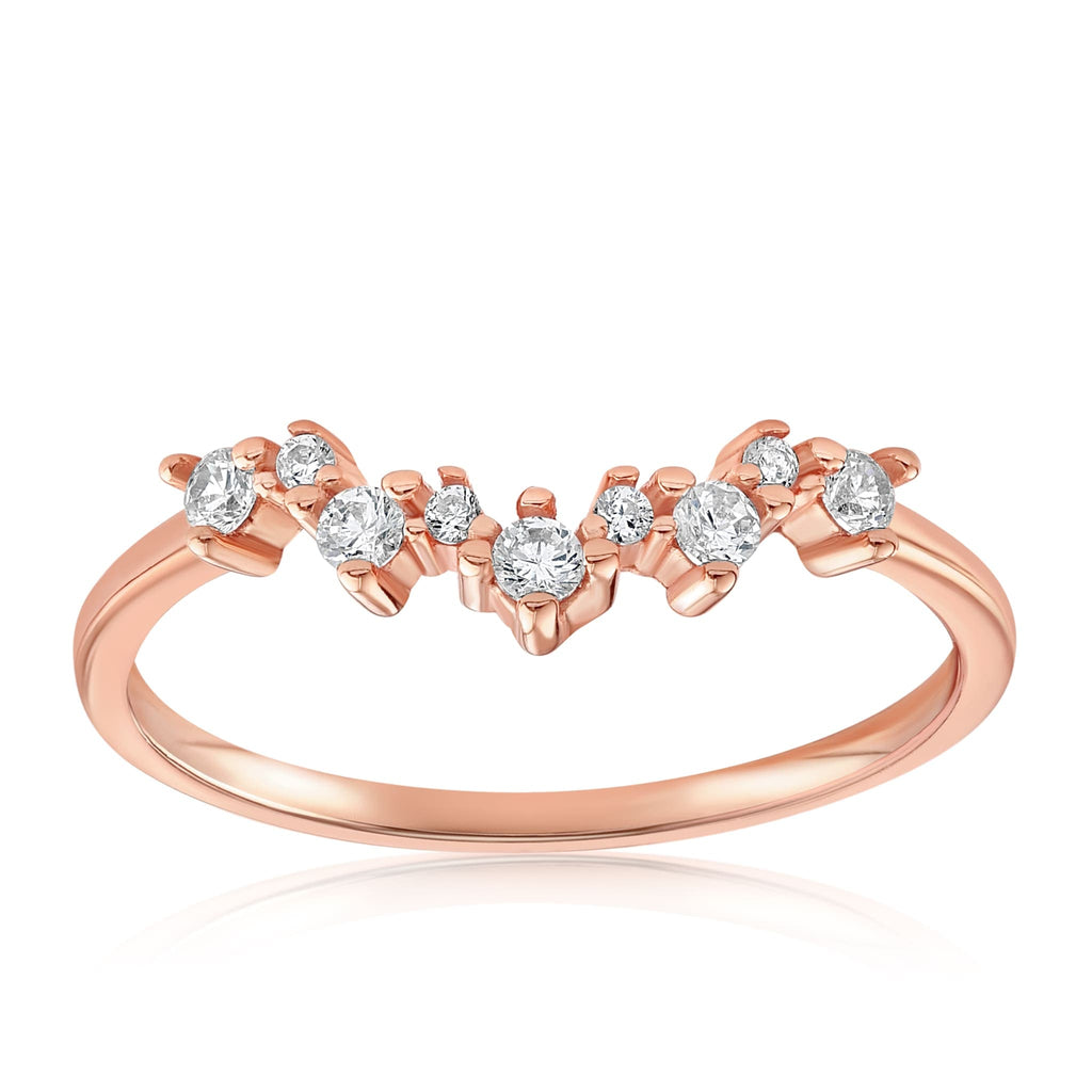 Valerie V Stack Cluster Ring - Front View Facing Up - 18K Rose Gold Vermeil