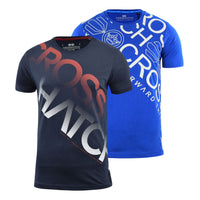 Mens Crosshatch T-shirt 2 Pack Crew Neck Diag Top Tee