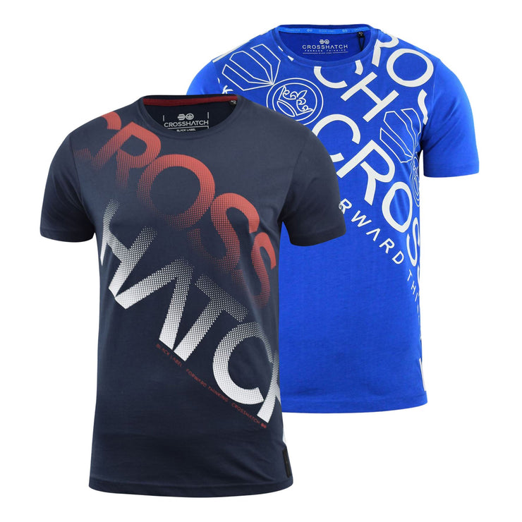 Mens Crosshatch t shirt 2 Pack Crew Neck Branded Tee Top - Kandor Clothing Company Ltd UK