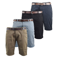 Mens Oxford Belted Shorts Smith and Jones Roll up Chinos Pants - Kandor Clothing Company Ltd UK