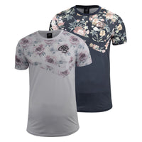 Mens T-Shirt Crosshatch Short Sleeved Rose Print Tee Top Swimson(,) - Kandor Clothing Company Ltd UK