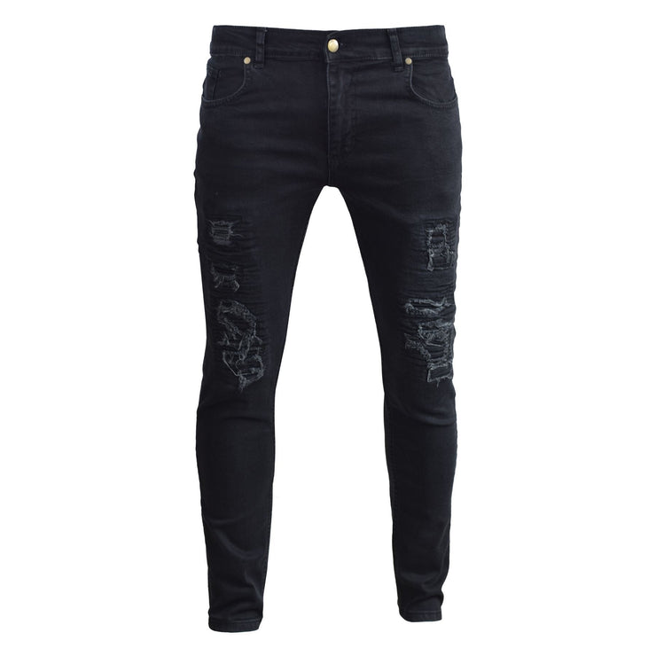Mens Jeans Gym Legend  Stretched Skinny Ripped Denim Pants Trousers - Kandor Clothing Company Ltd UK