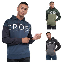 Mens Hoodie Crosshatch Camo Panel Sweatshirt Jumper Top Pullover POPOF