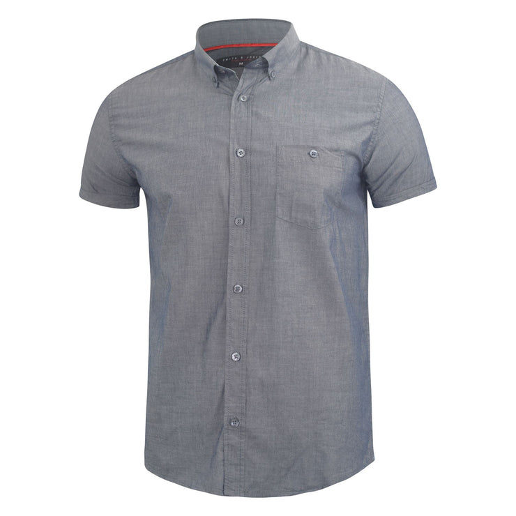 Mens Plain Shirt Henthorn Short Sleeved Cotton Blend Casual Top - Kandor Clothing Company Ltd UK