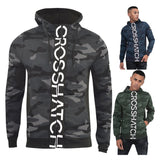 Mens Hoodie Crosshatch Camo Sweatshirt Full Zip  Hooded Jumper Top Pullover JAGA