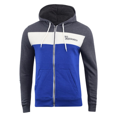 Mens Hoodie Crosshatch Sweatshirt Full Zip Leveler - Kandor Clothing Company Ltd UK
