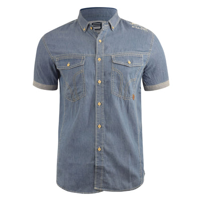 Mens Denim Shirt Smith and Jones Short Sleeve Casual Shirt(,)
